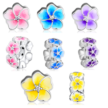 Flower Beads 100% 925 Sterling Silver Petals of Love and Plumeria Spacer Charm for Jewelry Making free shipping