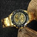Победитель Скелет автоматические механические часы для мужчин алмаз Iced Out Панк мужские часы бренд класса люкс Золотой стальной ремешок нар...