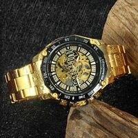 זוכה שלד אוטומטי מכאני שעון גברים יהלומי אייס מתוך פאנק Mens שעונים מותג יוקרה זהב פלדת רצועת שעוני יד