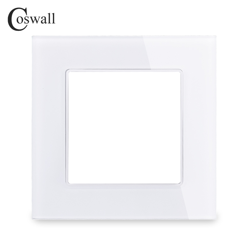 Coswall Luxury Wall Crystal Tempered Glass Panel Frame DIY Parts For C1 Series Black White Gold Red