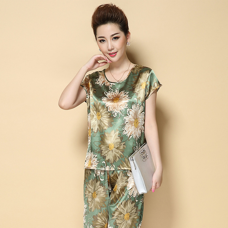 Fashion Middle-aged Women Dress Summer Wear Short Sleeve Set 40-50-Year-Old New Style Middle-aged Women Real Silk Two-Piece Set