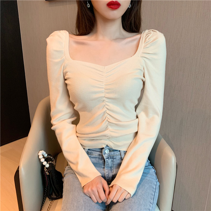 Women Slim Full Puff Sleeve Square Collar Sweater Shirts Lady Stretchy Sweaters Pullovers Crop Tops For Girls Autumn Spring