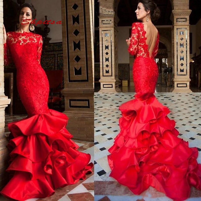 Red Long Sleeve Lace <font><b>Mermaid</b></font> Evening <font><b>Dresses</b></font> Party Plus Size Ladies Women Prom Formal <font><b>Dresses</b></font> Evening Gown image