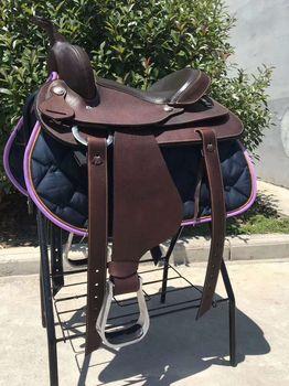 Genuine Leather Saddlery Horse Riding Saddle Integrated Saddle Cowboy Saddle Tourist Saddle Full Genuine Leather Comfortable 2
