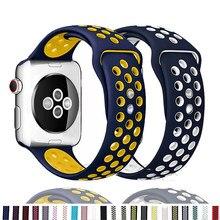 Correa de silicona para apple watch, banda deportiva transpirable de 44mm, 42mm, 40mm y 38mm, serie iwatch 6 se 5 4 3 42