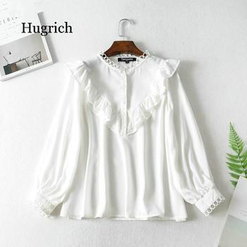 Women Ruffle White Shirts Long Sleeve Solid O-neck Elegant Office Ladies Work Wear Blouses