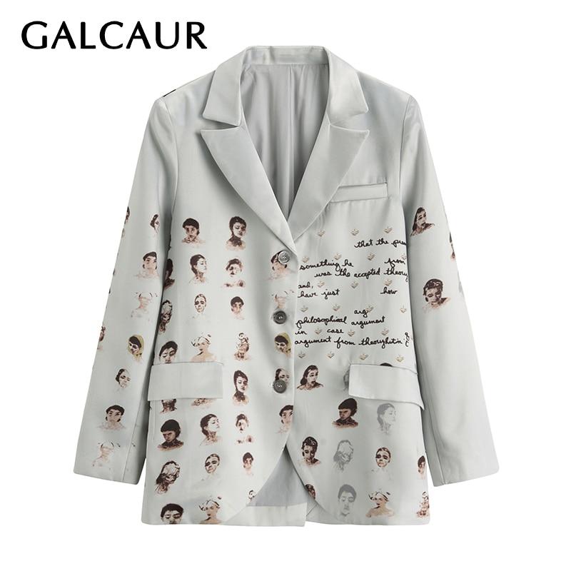 GALCAUR Print Hit Color Women's Blazer Notched Long Sleeve Pocket Large Size Loose Casual Korean Coats Female Fashion New 2020