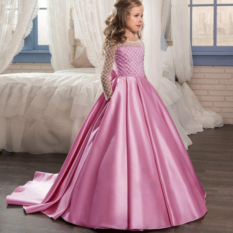 Маленькие платья для девочек, держащих букет невесты на свадьбе; платье для торжеств; платье для девочек, расшитое бисером, на день рождения; платье для первого причастия; бальное платье с длинными рукавами и лепестками - Цвет: Bean paste
