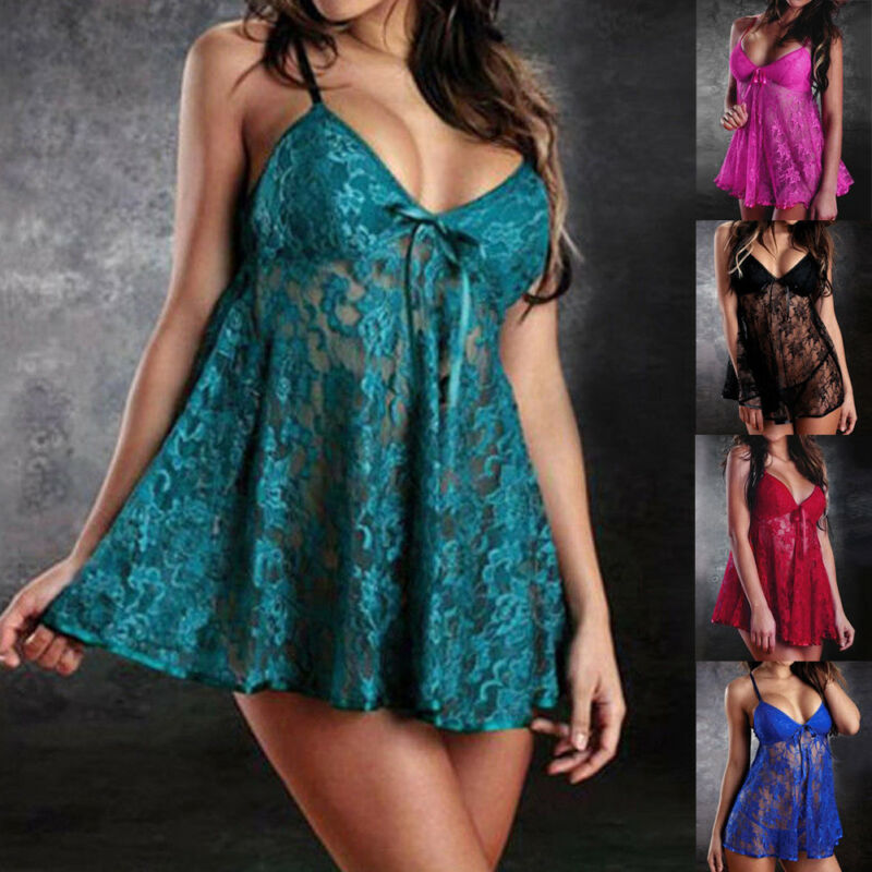 NEW Women Lace Sexy Lingerie Set Sleeveless Underwear Lingerie Sexy Erotic Dress+G-string Babydoll Set Sexy Underwear 1