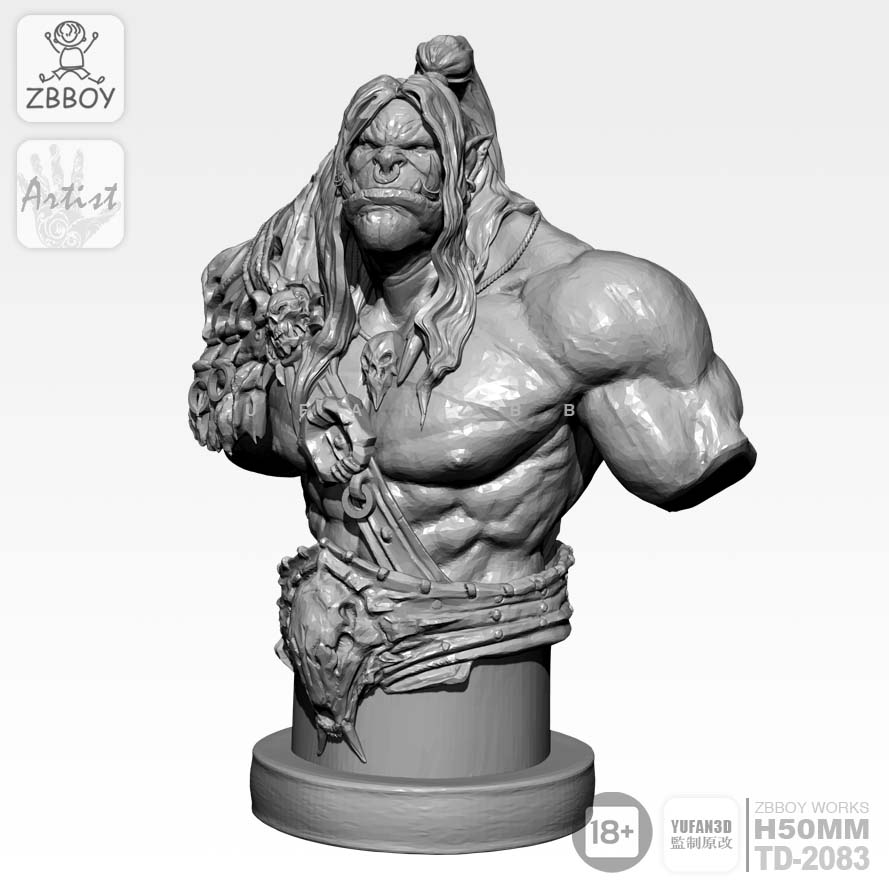 50mm Resin Kits High-precision Orc Half Body Resin Model Self-assembled TD-2083