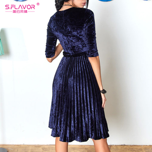 Image 2 - Flavor vintage 3/4 manga vestido de veludo soild cor feminina 2020 primavera verão vestidos de festa plissados cinto sólido a linha vestidos