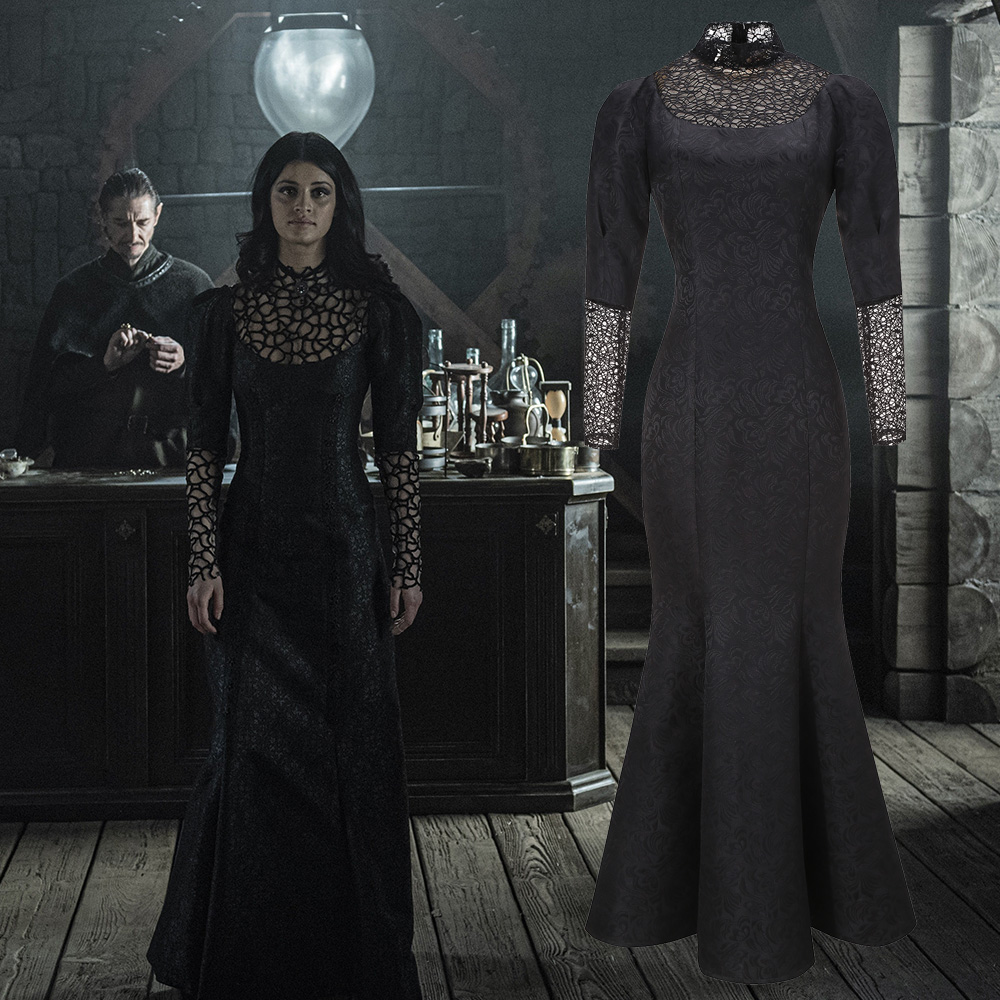 TV Series Yennefer Of Vengerberg Cosplay Costume Custom Sexy See Through Black Lace Dress Mother Dress Mermaid Skirt In Stock