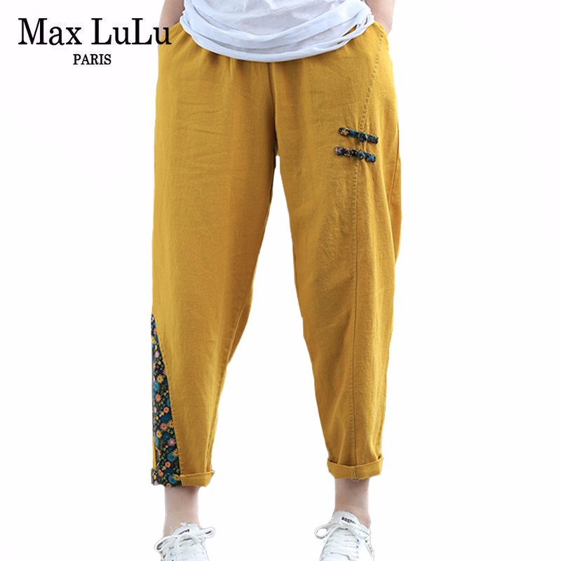 Max LuLu Chinese Fashion Style 2020 Summer Ladies Vintage Streetwear Womens Casual Patchwork Pants Female Floral Linen Trousers