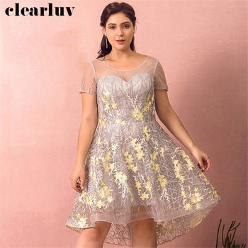 Prom Gowns Gray Short Front Long Back Dresses Women Party Night T465 2019 New Plus Size Vestidos De Gala Embroidery Prom Dresses