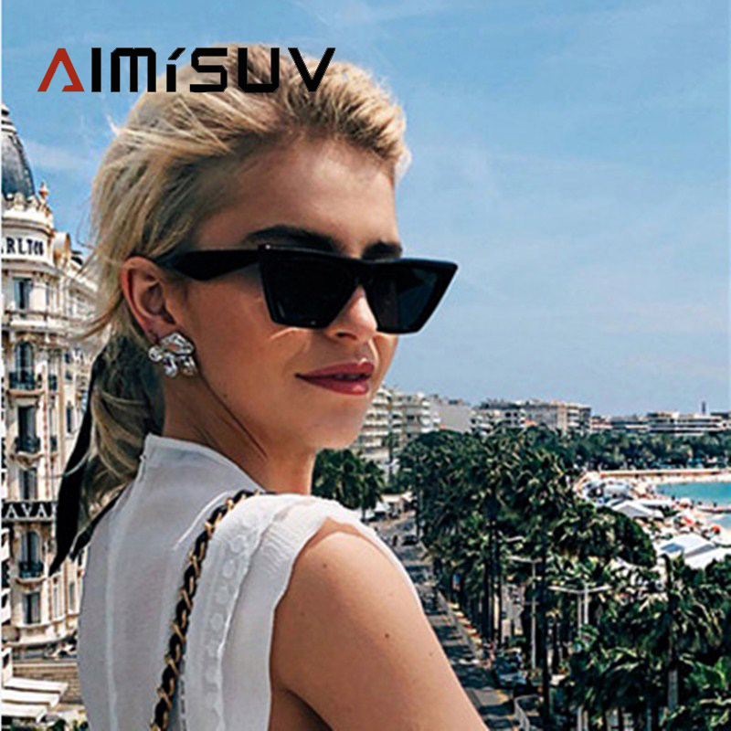 AIMISUV Fashion Cat Eye Sunglasses For Women  Vintage Luxury Brand Designer Sun Glasses Oversized Eyewear Kardashian UV400