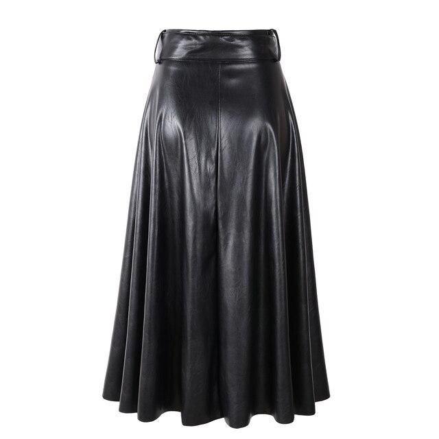 2019 New Fashion Women Autumn Winter PU Faux Leather Skirts Lady High Waist A-line Midi Mid-calf Maxi Long Black Skirt With Belt 4