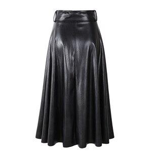 Image 4 - Новинка 2020, модные женские юбки из искусственной кожи на осень и зиму, женские юбки с высокой талией, трапециевидные миди до середины икры, длинные черные, винно красные, с поясом