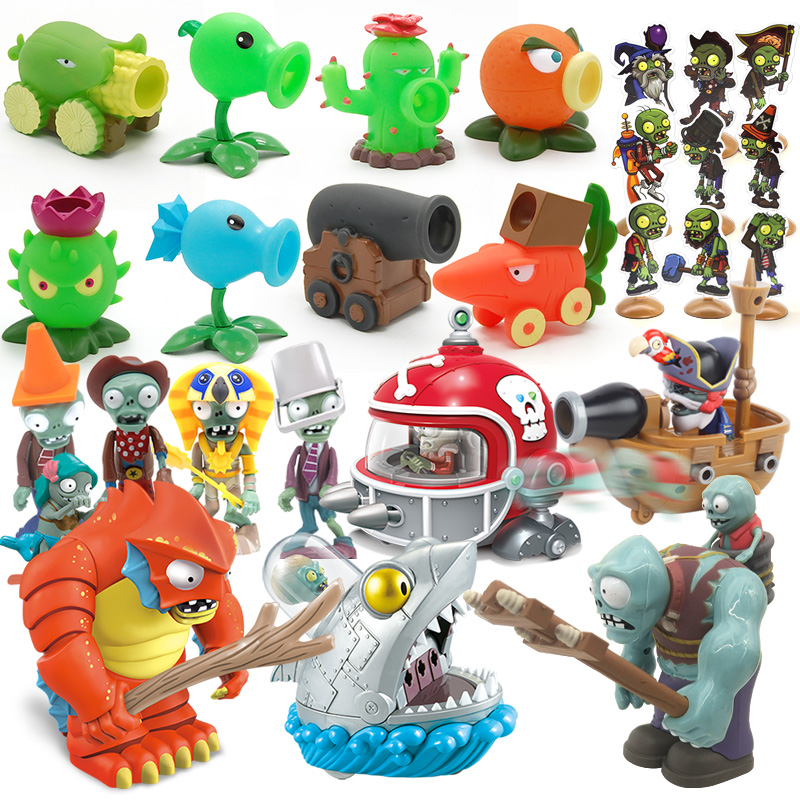 4pcs Plants Vs Zombies Shooter Set PVC Action Figure Model Toy And Cards High Quality Shooting Toys Gift For Boys
