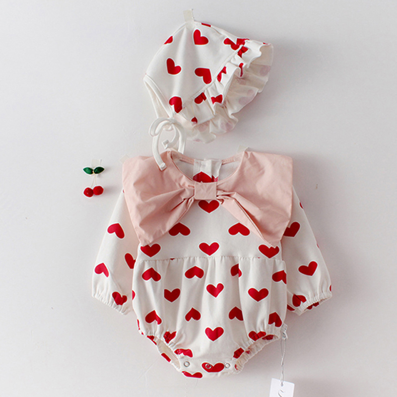 2020 Spring Baby Girls Bodysuits New Baby Girl Love Butterfly Collar Long Sleeve Hardcover Baby Cotton One Piece Creeper