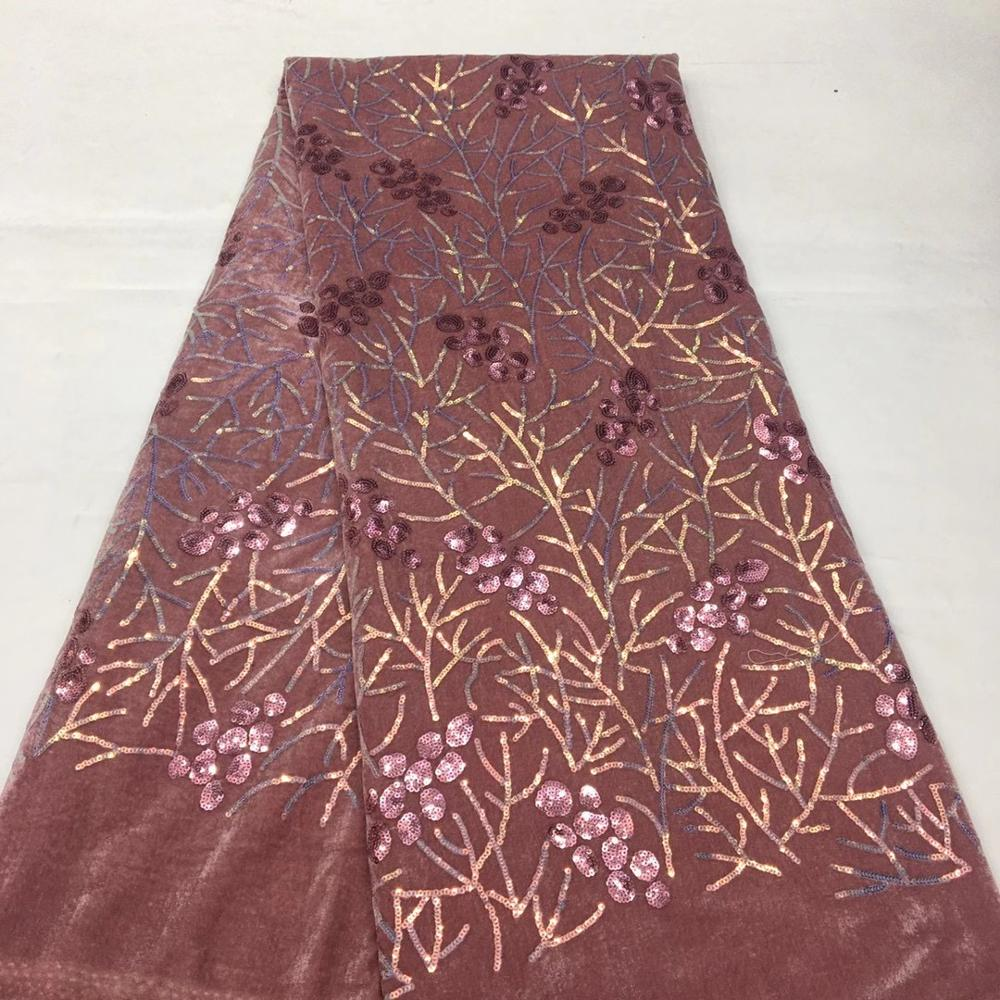¿Closeout DealsLace-Fabric Sequin Embroidery Nigerian Wedding-Ts9599 High-Quality African with Velvet