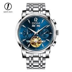 Szwajcaria Dom mechaniczny zegarek z tourbillonem męska luksusowa marka automatyczny zegarek sportowy pełna stali nierdzewnej wodoodporny Relogio Masculino