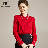 Women's Silk Shirts Turn Down Collar Long Sleeves Embroidery Elegant Fashion Shirt Blouse