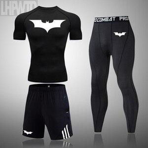2020 men's Fitness sports t-shirt jogging shirt short-sleeved men clothing Batman tops sports compression quick-drying sets