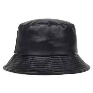 2020 new bucket hat faux leather bucket hats PU cotton solid top men's and women's fashion bucket cap Panama fisherman caps(China)