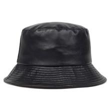 Sombrero de cubo de cuero de imitación para hombre y mujer, gorra de cubo de cuero sintético, algodón sintético, sólido, a la moda, sombrero de Panamá, gorras de pescador, novedad de 2020
