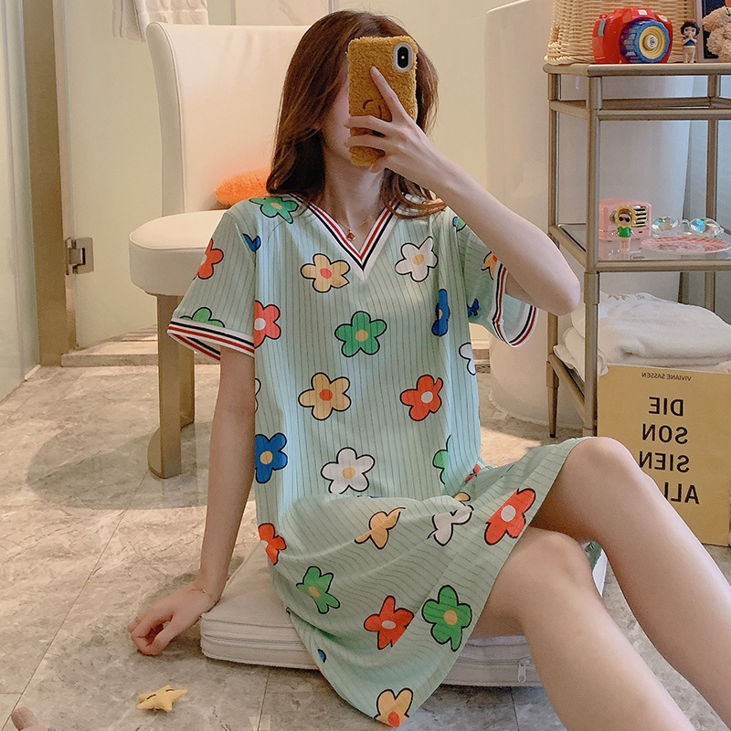 Nightgown Women's Summer Short-sleeved Korean-style Cute Lv Titoni Pajamas Sweet Korean-style Students Thin Summer Home Wear
