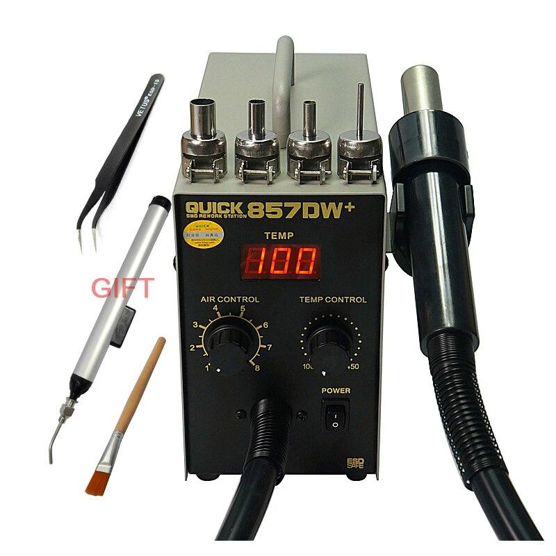 Pistolet à air chaud réglable sans plomb rapide 857DW + avec station de reprise de vent hélicoïdal 580W SMD
