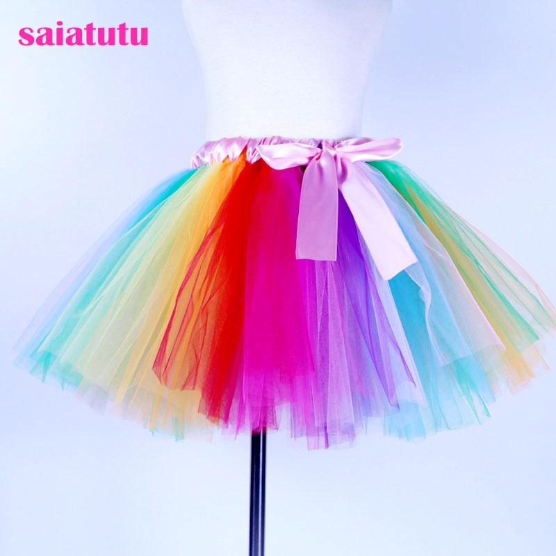 Kids Baby Ballet Dance Tutu Skirt Girls Rainbow Tulle Tutu Mini Dress Costume