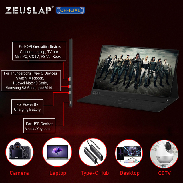 ZEUSLAP Portable lcd hd monitor 15.6 usb type c HDMI-compatible for laptop,phone,xbox,switch and ps4 portable lcd gaming monitor 5