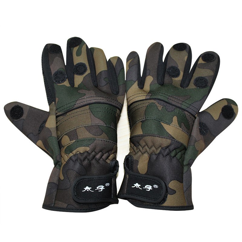 Image 2 - Fishing gloves Camouflage waterproof gloves Can be exposed three fingers Winter thick warm non slip glovesFishing Gloves   -