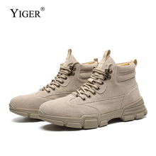 YIGER New Men desert boots man casual suede leather lace-up male martins tooling shoes autumn winter ankel  0375