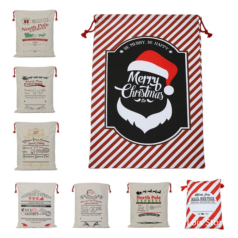 Bag Santa-Bag Canvas Drawstring Christmas-Gift Home-Decoration Large Personalized 1pc