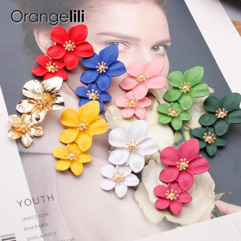 Orangelili New Ins Spray Paint Big Flower Stud Earrings For Women Fashion Summer Accessories Elegant Sweet Brinco OG010