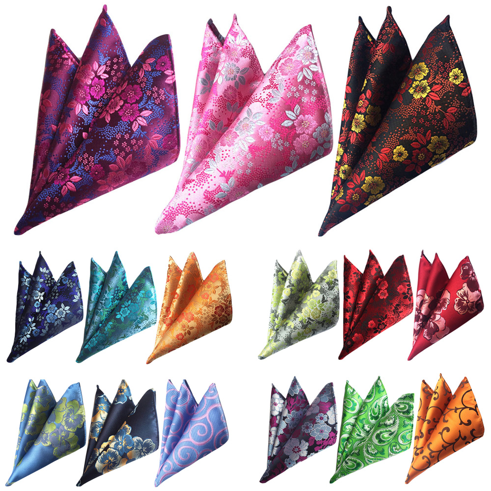 3 Packs Men Fashion Floral Pocket Square Handkerchief Wedding Party Hanky