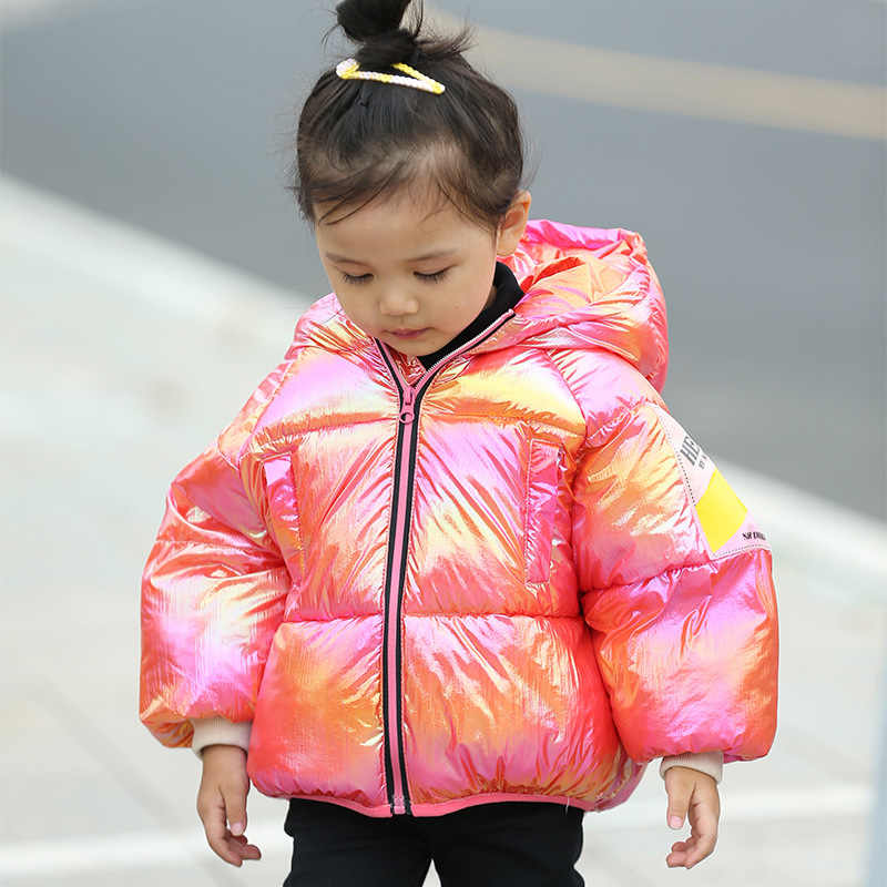 Girls clothes baby new children's down jacket men and women cotton clothes candy color thick warm down jacket baby hooded jacket