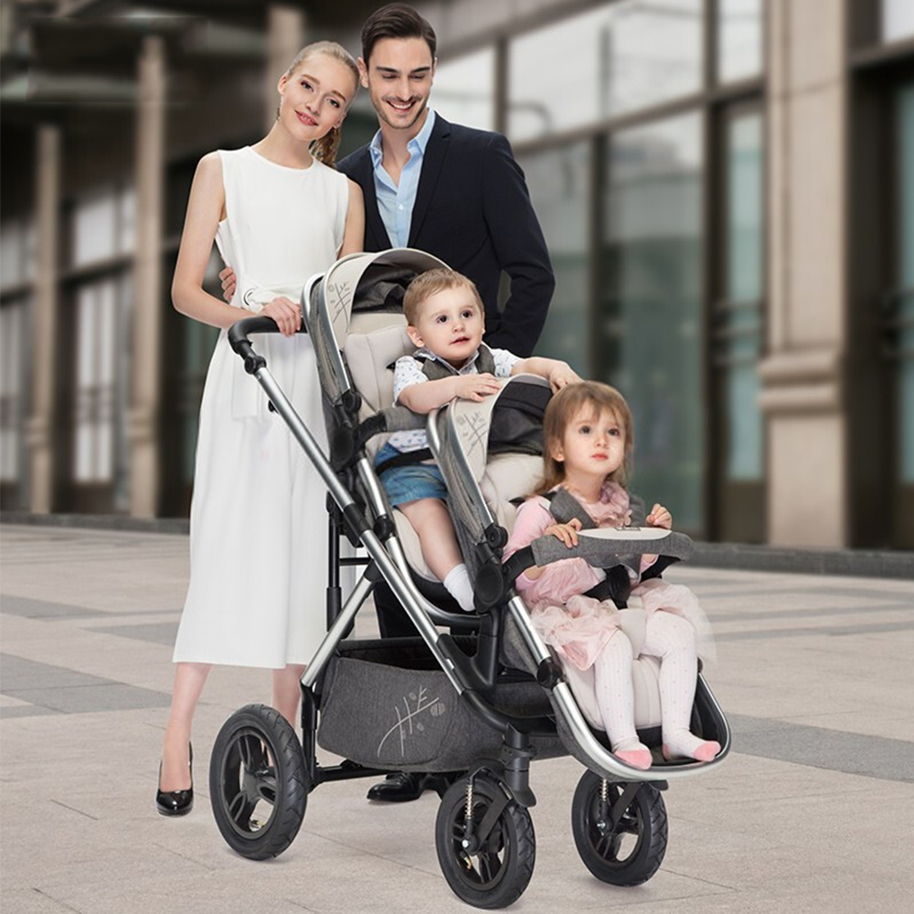 VIKI Double Stroller Portable High Landscape Baby Stroller For Twins Luxury Multi-functional Bidirectional Foldable Twin Trolley