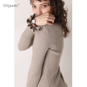 Image 4 - 2019 Women 100% Cashmere O neck Knit Long Dress Allover Ribbed Winter Dress Flare Sleeve Straight Soft Long Knitwear Sweaters