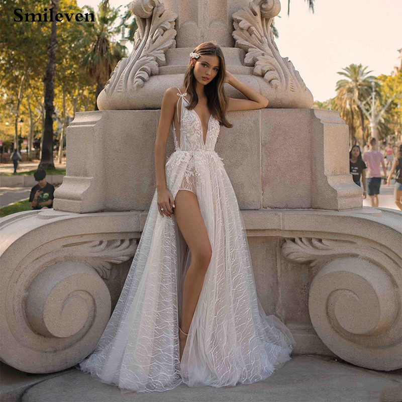 Smileven Wedding Dresses A-line 2020 Sparkling Lace Spaghetti Straps Side Split Beach Bride Dresses Vestido De Casamento Boho