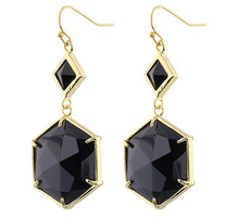 FYJS Unique Jewelry Light Yellow Gold Color Hexagon Cabochon connect Black Agates Small Rhombus Drop Earrings