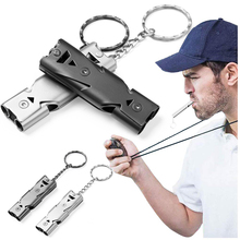 Emergency Whistle Outdoor High Decibel Portable Keychain Stainless Steel Double Pipe Survival Multifunction Tool