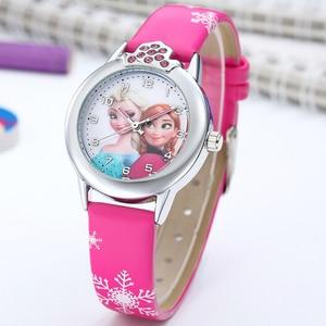 Elsa Watch Girls Elsa Princess Kids Watches Leather Strap Cute Children's Cartoon Wristwatches Gifts for Kids Girl(China)