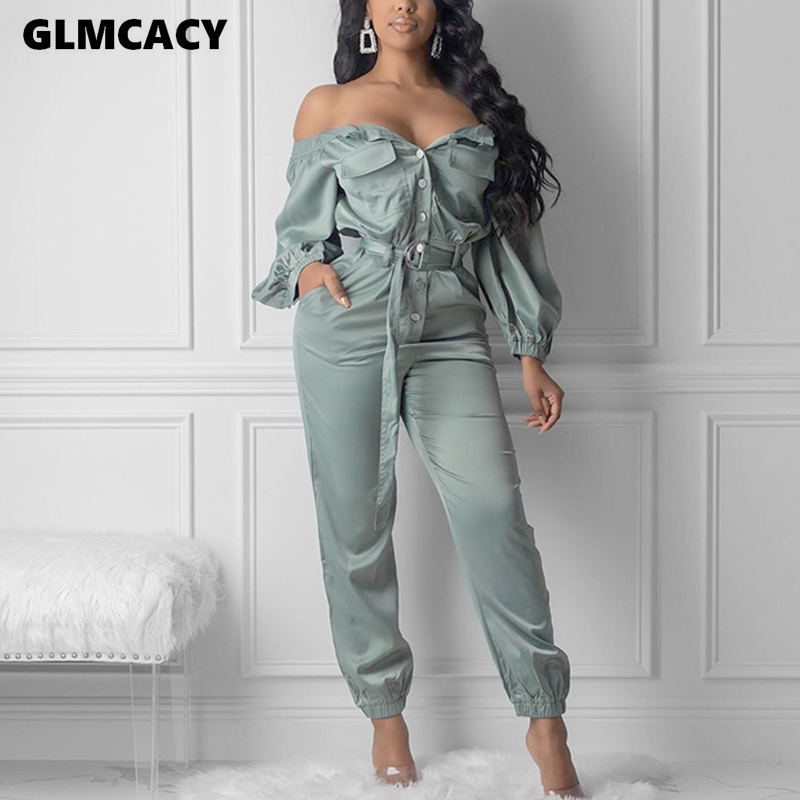 Women Streetwear Sexy Off Shoulder Bow Jumpsuits Autumn Casual Solid Loose Ankle-length Pants Plus Size Pants