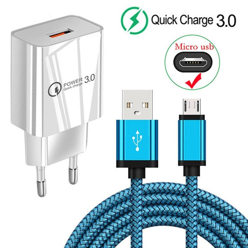 QC 3,0 3A быстрое зарядное устройство USB для Samsung A01 M11 A6 A7 2018 Huawei P Smart 2019 Y6 Y5p Honor 10i 9a 7a Micro USB кабель для зарядки