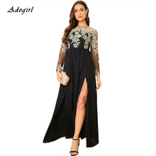 цена на Adogirl Women Plus Size Embroidery Lace Dress Elegant Off Shoulder Long Sleeve A Line High Slit Long Evening Party Dress Vestido