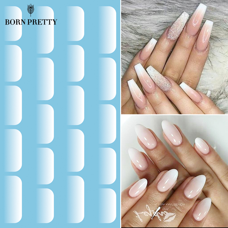 White Nail Art Water Decals Transfer Stickers For Jelly Nail Gel Protein Gradient Effect Nail Sticker French Nails DIY
