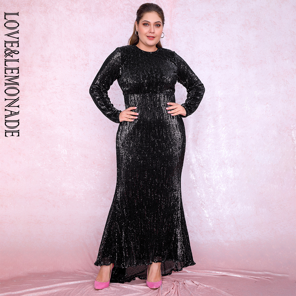 Love&Lemonade Sexy Plus Size Black 0-Neck Elastic Pleated Sequins Fishtail Shape Party Mix Dress LM81320PLUS Autumn/winter